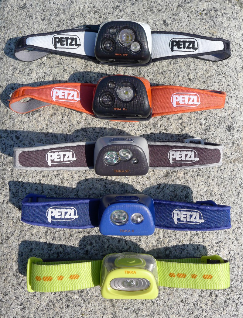 Petzl Tikka family photo - Tikka R, Tikka RXP, Tikka XP, Tikka Plus, Tikka 2014