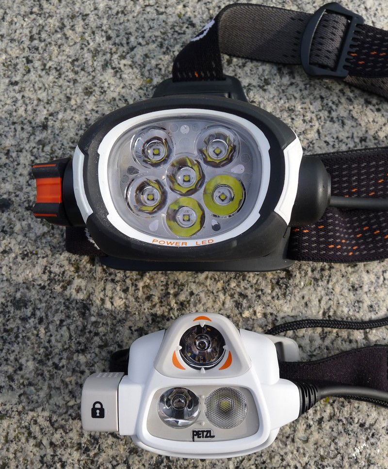 Petzl ultra rush vs NAO - side by side, head.